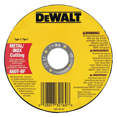 DEWALT Type 1 Thin Metal Cutting Wheel, 4-1/2 in Dia, 0.045 in Thick, 7/8 in Arbor, A60T grit