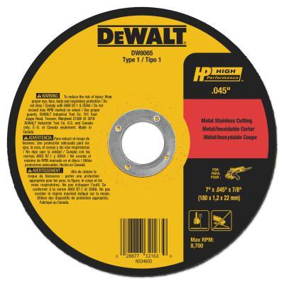 DEWALT Type 1 Thin Metal Cutting Wheels, HP, 7 in x .045 in x 7/8 in, 8700 rpm
