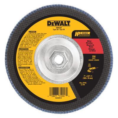 DEWALT Type 29 HP Flap Discs, 7 in Dia., 60 Grit, 5/8 in - 11, 8700 RPM