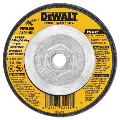 DEWALT Type 27 HP Metal Grinding Wheels, 4-1/2 in, 5/8 in - 11 in, 13300 rpm