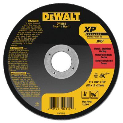 DEWALT Type 1 Thin Metal Cutting Wheels, XP, 5 in x .045 in x 7/8 in, 12200 rpm