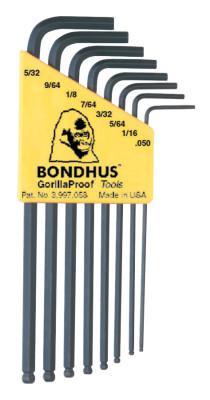 BONDHUS Balldriver L-Wrench Key Sets, 8 per holder, Hex Ball Tip, Inch