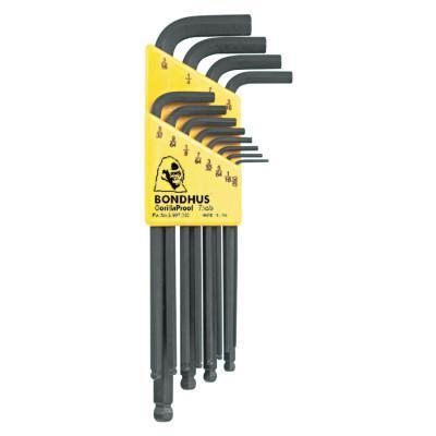 BONDHUS Balldriver L-Wrench Key Sets, 12 per pack, Hex Ball Tip, Inch