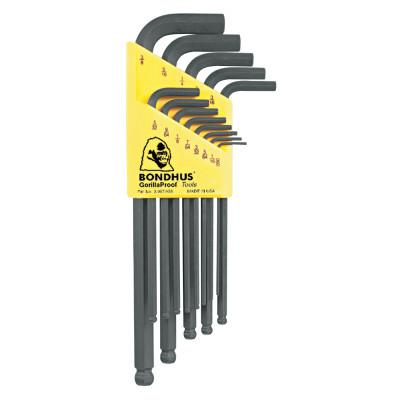 BONDHUS Balldriver L-Wrench Key Sets, 13 per holder, Hex Ball Tip, Inch