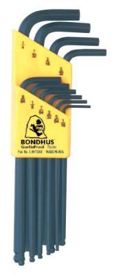 BONDHUS Balldriver L-Wrench Key Sets, 10 per holder, Hex Ball Tip, Inch