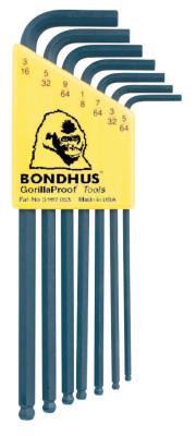 BONDHUS Balldriver L-Wrench Key Sets, 7 per holder, Hex Ball Tip, Inch