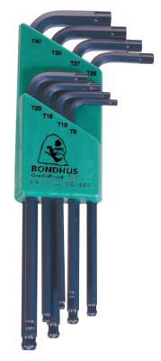 BONDHUS BallStar L-Wrench Sets, 8 per holder, Torx Ball Tip
