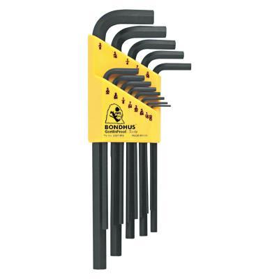 BONDHUS Hex L-Wrench Key Sets, 13 per holder, Hex Tip, Inch