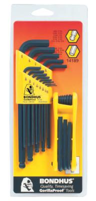 BONDHUS Balldriver L-Wrench and Fold-Up Set Combinations, 22 pieces, Hex Ball Tip, Inch