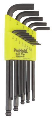 BONDHUS ProHold Balldriver L-Wrench Hex Key Sets, 13 per holder, Hex Ball Tip, Inch