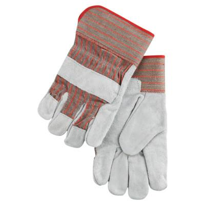 MEMPHIS GLOVE Industrial Standard Shoulder Split Gloves, Large, Leather, Fabric, Red and Gray