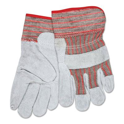 MEMPHIS GLOVE Industrial Standard Shoulder Split Gloves, Small, Leather, Red and Gray Fabric