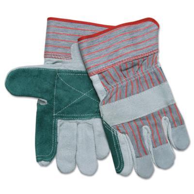 MEMPHIS GLOVE Industrial Standard Shoulder Split Gloves, X-Large, Leather, Gray w/Red Stripes
