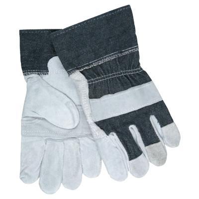 MEMPHIS GLOVE Economy Leather Patch Palm Gloves, Large, Split Cowhide, Gray/Blue
