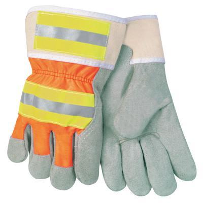 MEMPHIS GLOVE Luminator Leather Palm Gloves, Large, Leather/Nylon, Orange/Gray