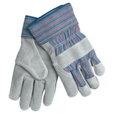 MEMPHIS GLOVE Leather Palm Chore Gloves, X-Large, Gray/Blue/Red/Black