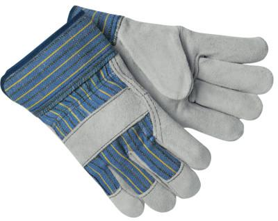 MEMPHIS GLOVE Select Split Cow Gloves, Large, Blue Fabric w/Yellow Stripes