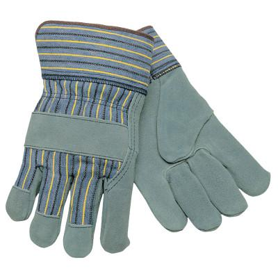 MEMPHIS GLOVE Select Split Cow Gloves, Large, Leather, Gray/Brown w/Blue/Yellow/Black Stripes