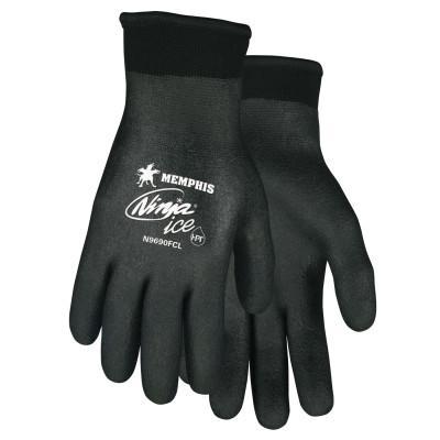 Memphis Glove Ninja Ice Gloves, Acrylic, Nylon, HPT Size Large 15 gauge (7 gauge liner) Black HPT (Full Dip)