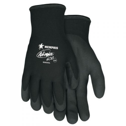 Memphis Glove Ninja Ice Gloves, Acrylic, Nylon, HPT Size Large 15 gauge (7 gauge liner) Black HPT (Palms and Fingertips)