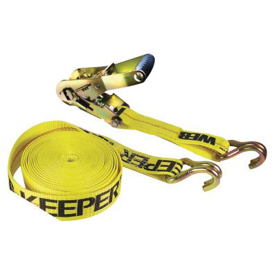 KEEPER Ratchet Tie-Down Straps, Double-J Hooks, 2 in W, 27 ft L, 10,000 lb Capacity