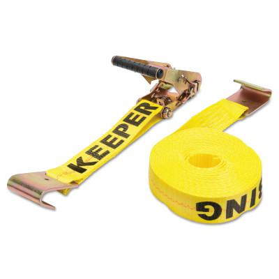 KEEPER Ratchet Tie-Down Straps, Flat Hooks, 2 in W, 27 ft L, 10,000 lb Capacity