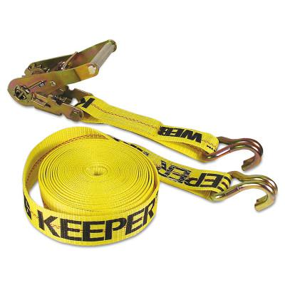 KEEPER Ratchet Tie-Down Straps, Double-J Hooks, 2 in W, 40 ft L, 10,000 lb Capacity