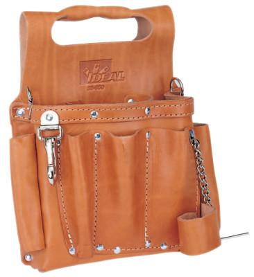IDEAL INDUSTRIES Tuff-Tote Tool Pouches, 8 Compartments, Brown, Premium Leather