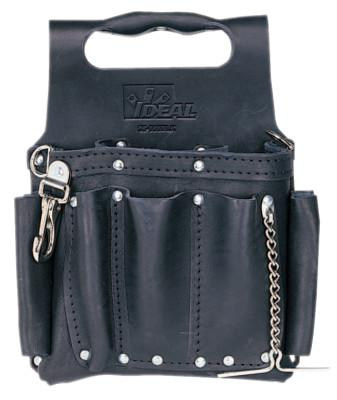 IDEAL INDUSTRIES Tuff-Tote Tool Pouches, 8 Compartments, Black, Leather