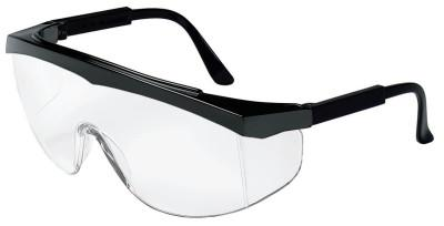 CREWS Stratos Spectacles, Clear Lens, Polycarbonate, Scratch-Resistant, Black Frame