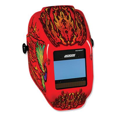 JACKSON SAFETY WH40 Insight Halo X Variable Welding Helmet, GN; 9-13, Red/BK Flaming Butterfly