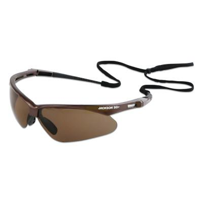 JACKSON SAFETY Safety SG+ Series Safety Glasses, Brown Polarized/Polycarbonate/Hardcoat Anti-Scratch Lens, Brown