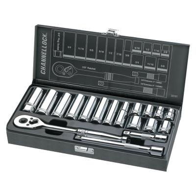 CHANNELLOCK 18 Piece Mechanic's Tool Sets, 3/8 in, SAE