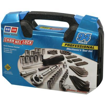 "CHANNELLOCK 94 Pc. Mechanic's Tool Set, Chrome Vanadium, 3/16""-3/4"", 4mm-19mm, Metric/SAE"