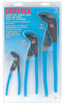 CHANNELLOCK Griplock Tongue and Groove Plier Set, 6 in, 10 in and 12 in Lengths, Hex Jaw