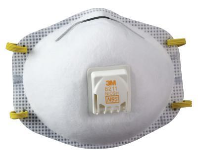 3M N95 Particulate Respirators, Half Facepiece, Non-Oil Filter, White
