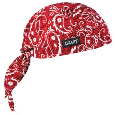 ERGODYNE Chill-Its 6615 High-Performance Dew Rags, 6 in X 20 in, Red Western
