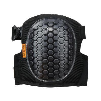ERGODYNE 367 Round Cap Lightweight Gel Knee Pads, Strap/Buckle, Black