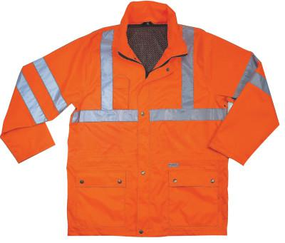 ERGODYNE GloWear® 8365 Class 3 Rain Jacket, Poly, Orange, Small