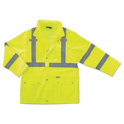 ERGODYNE GloWear® 8365 Class 3 Rain Jacket, Poly, Lime, Small