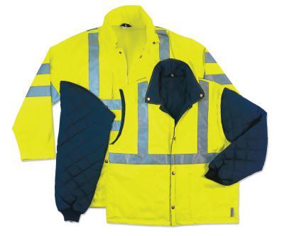 ERGODYNE GloWear 8385 Class 3 4-In-1 Thermal Jackets, Small, Orange