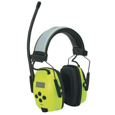 HOWARD LEIGHT BY HONEYWEL Sync Hi-Vis Digital AM/FM Radio Earmuff, 25 dB, Hi-Vis Green