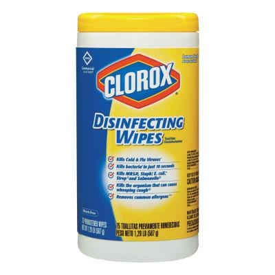 CLOROX Disinfecting Wipes, 7 x 8,  Lemon Fresh, 75/Canister