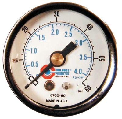 COILHOSE PNEUMATICS 1 1/2 in Chrome Plated Gauge, 60 psi (tensile), Chrome, 1/8 in NPT(M)