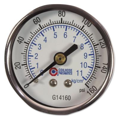 COILHOSE PNEUMATICS 2 in Chrome Plated Gauge, 160 psi, Chrome, 1/4 in NPT(M), Center Back Mount