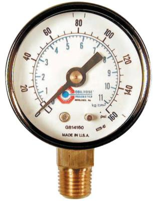 COILHOSE PNEUMATICS 2 in Chrome Plated Gauge, 160 psi (tensile), Chrome, 1/4 in NPT(M)