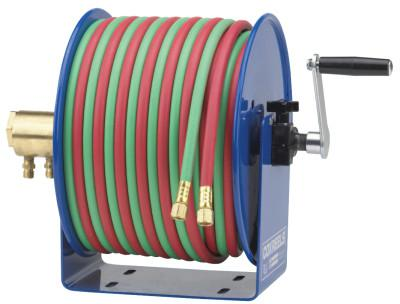 COXREELS Twin-Line Welding Hose Reels, 100 ft, Hand Crank, Hose Included