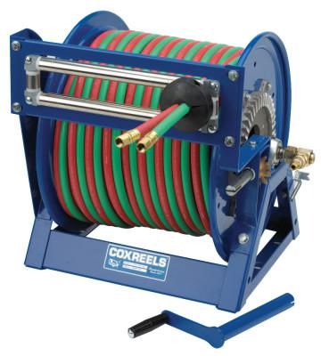 COXREELS Large Capacity Welding Reel, 3/8 I.D. 2/3 in. O.D. x 100ft, Hand Crank Dual Hose