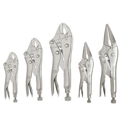 """CRESCENT Locking Pliers Set, 5"""", 7"""" & 10"""" Curved Jaw, 6"""" & 9"""" Long Nose w/Wire Cutter"""