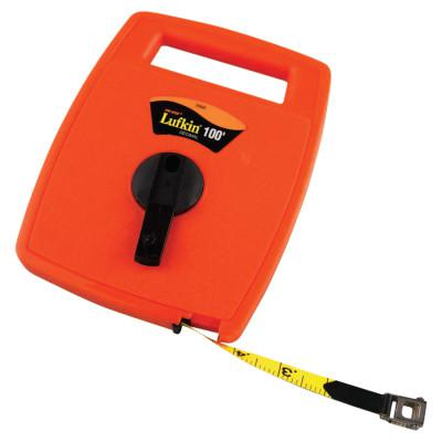 LUFKIN Hi-Viz® Linear Measuring Tape, 1/2 in x 100 ft, 1/10 in Grad